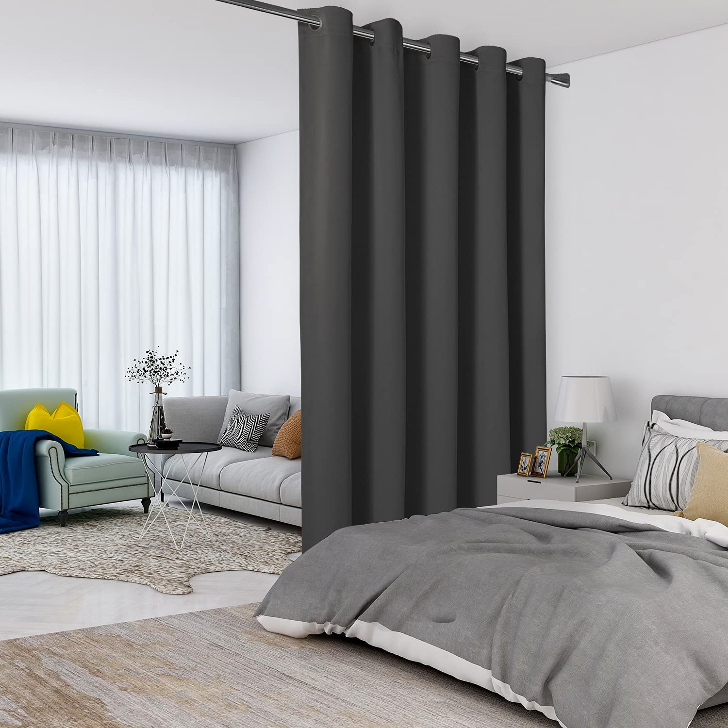LORDTEX Dark Grey Room Divider Oakland Mall Courier shipping free shipping Curtains Roo Total - Privacy Wall