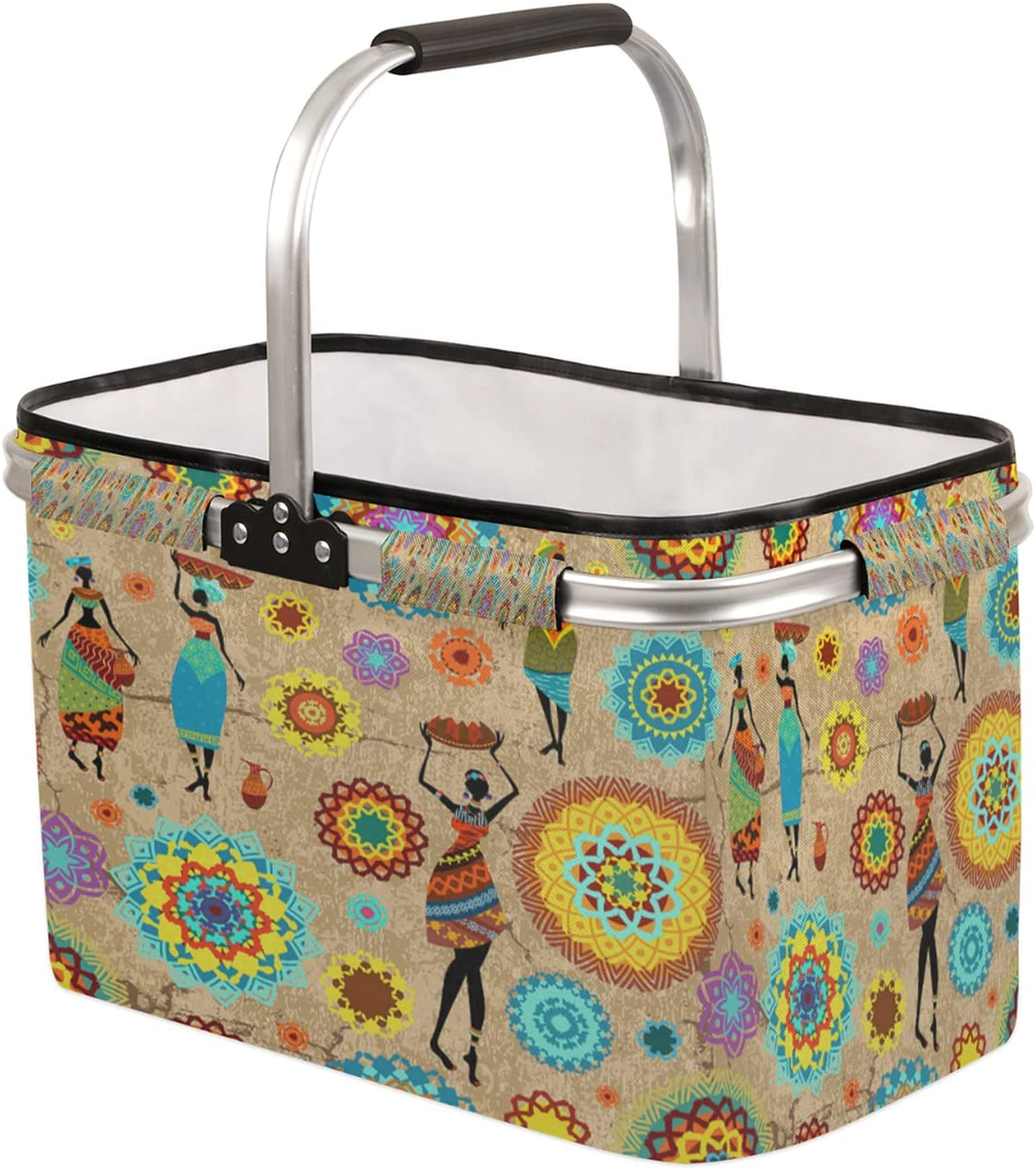 Collapsible Market Basket with Department store Strong Aluminum Frame Handle Finally resale start Soft