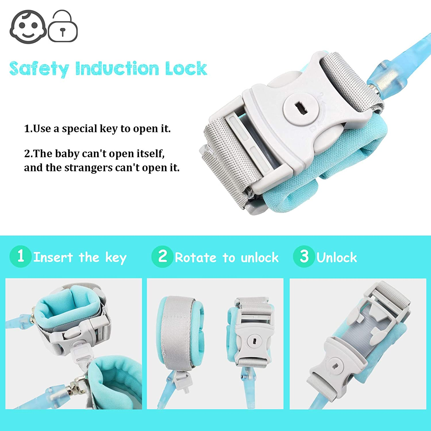 Toddler Leash for Kids Walking Safety   Child Wrist & Hand Leash for Baby & Kids - Anti-Cut Version with Safety Lock and Key - 2Pack (Light Blue, 4.9ft + 8.2ft)