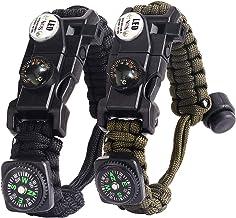 BIYI Paracord Tactical Ombrello Bracciale in Corda Fibbia in Acciaio Paracord Bracciale Regolabile Braccialetto di Sopravvivenza allaperto Nero