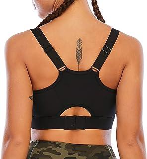 Fancyskin Sports Bras for Women Padded Back Strappy Yoga Bra Stretchy Medium Support Workout Bras