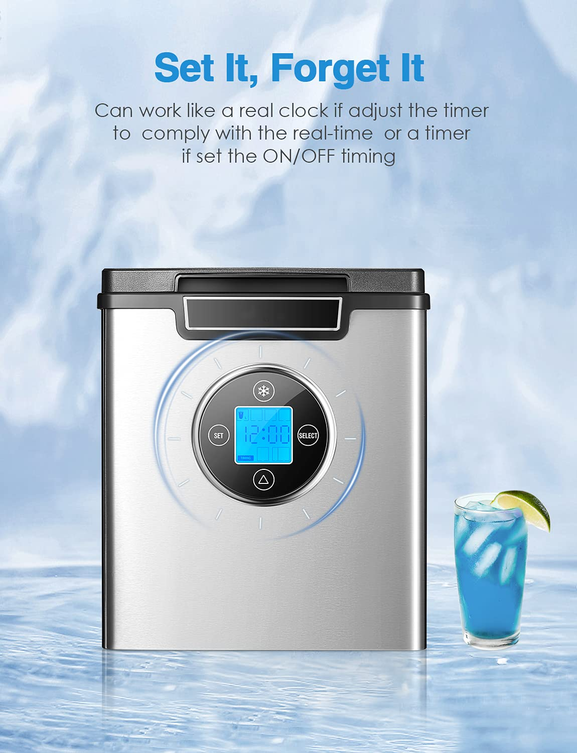Ice Maker Countertop, 28 lbs. in 24 Hrs, 3 Ice Sizes, 9 Cubes Ready in 6 Minutes, 2.4L Self Cleaning Function, Stainless Steel Quiet Ice Maker Machine with Timer and LED Display, Scoop and Basket