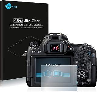 savvies Protector Pantalla Compatible con Canon EOS 77D (18 Unidades) Pelicula Ultra Transparente