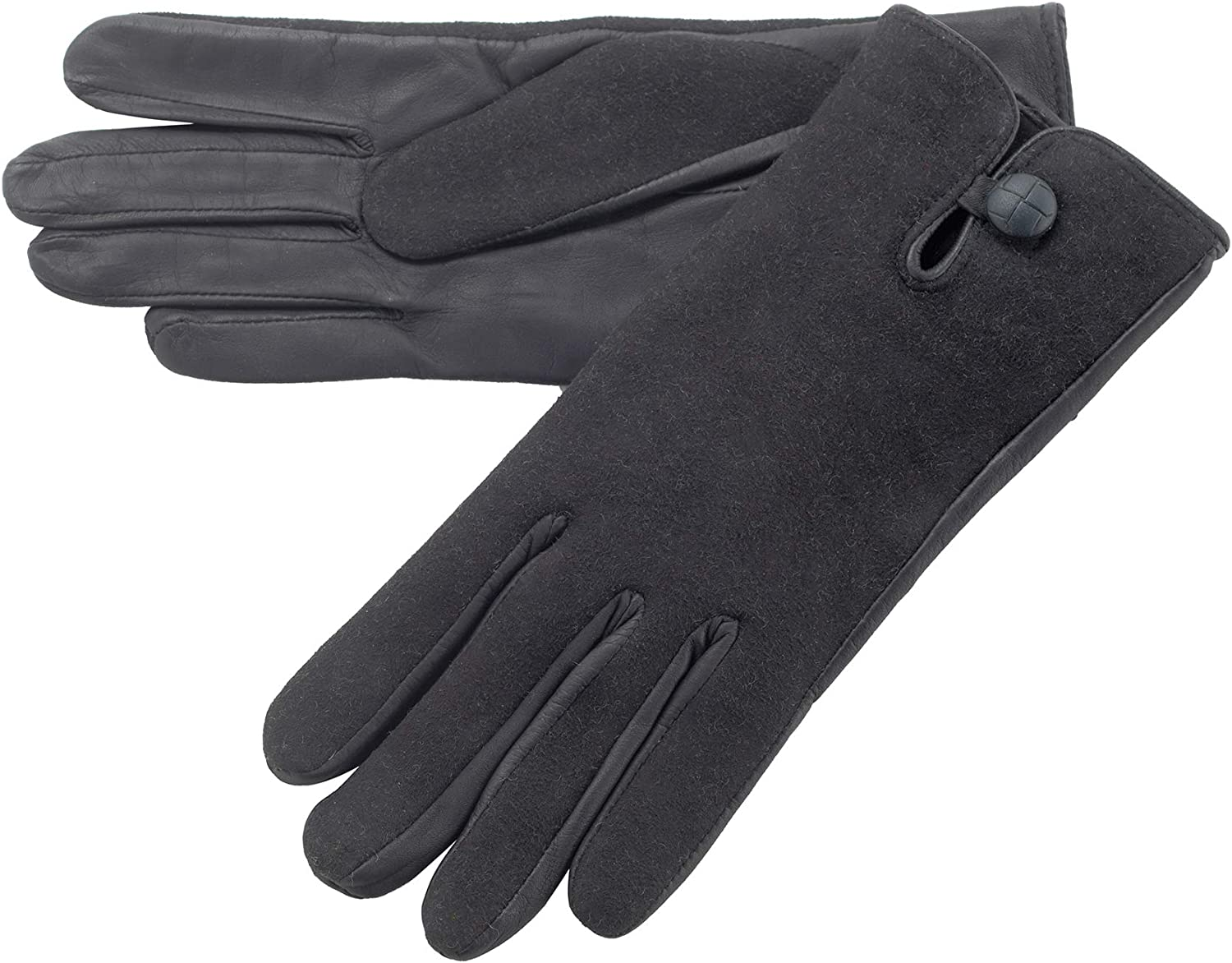 Lambland Ladies Leather Palm Lambskin Back Gloves in Black Size Small