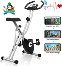 ANCHEER Folding Exercise Bike with APP Simulation Game, Indoor Stationary Bike with 10-Level Adjustable Magnetic Resistance & Tablet Stand & Large and Comfortable Seat