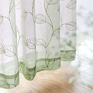 Sheer Curtains for Bedroom Rod Pocket Embroidered Leaf Window Curtains 95 inch Length Botanical Geometric Drapes Living Room 1 Pair Sage