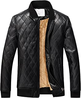Men's Casual Diamond-Quilted Sherpa Lined Pu Leather Bomber Jacket