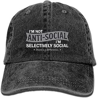 E-Isabel Anti-Social I'm Selectively Social (2) Adjustable Tour Cotton Washed Denim Caps Hats Navy