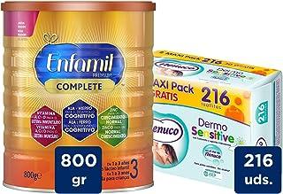 Enfamil Premium 3 - Leche infantil de Continuacion para Lactantes niños de 1 a 3 años - 800 g + Nenuco Dermosensitive - Toallitas bebé para Pieles Sensibles, Sin Alcohol - 216 unidades