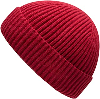 MOSNOW Wool Fisherman Beanie Hat for Men Women Winter Classic Short Cuff Knitted Hat Skull Watch Cap Original