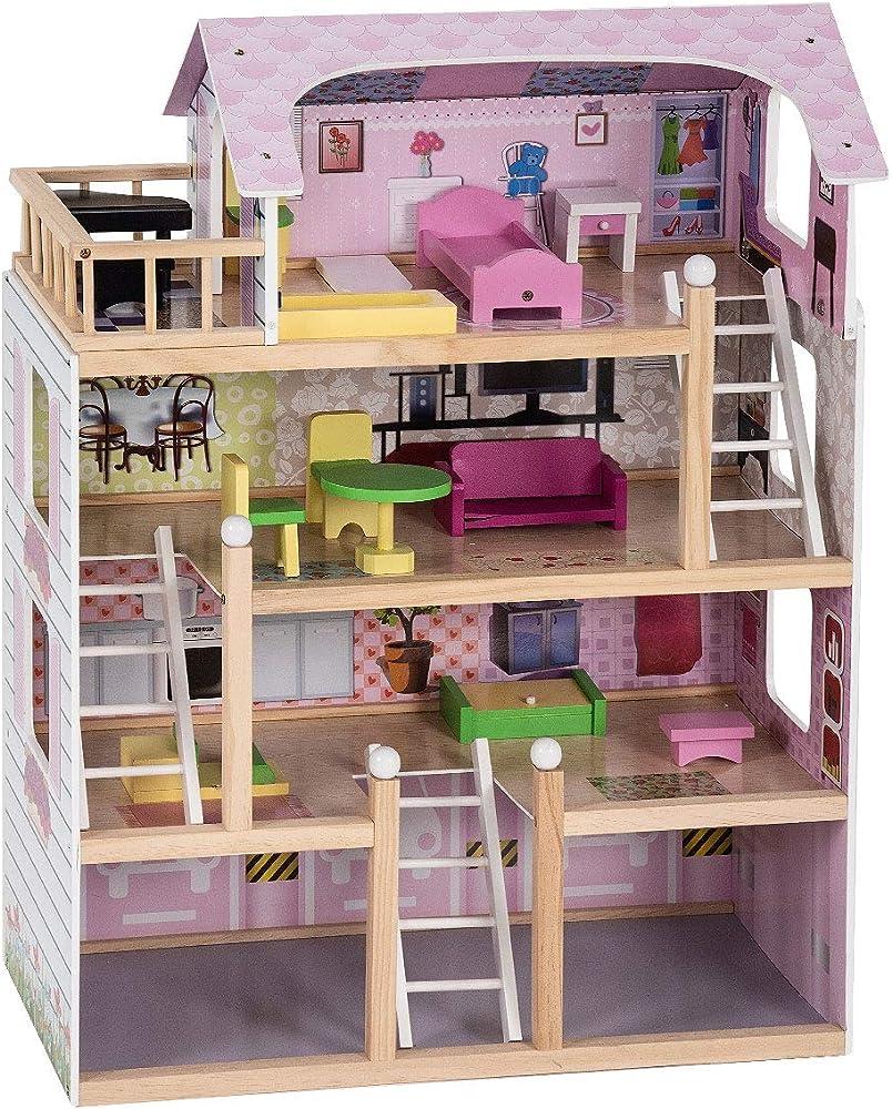 Costway casa delle bambole in legno, giocattolo dei bambini con accessori TY325134IT