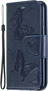 Galaxy S10  Plus Case  Bear Village  Embossing Butterfly Wallet Case for Samsung Galaxy S10  Plus with Kickstand Function  Wrist Strap  Credit Card Slots   6 Navy Blue