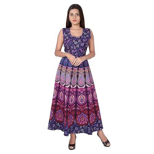 8a116c4af0 Jaipuri Fashionista Cotton Women's Maxi Long Dress Jaipuri Printed (Free  Size Upto 44-XXL