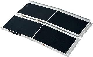 HOMCOM 4' Lightweight Aluminum Portable Skidproof PVC Carpeted Folding Wheelchair Ramp