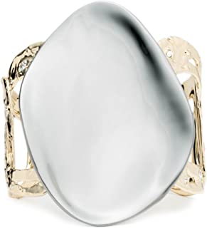 Alexis Bittar Disk and Rocky Link Cuff Bracelet with Swarovski Crystal Accent