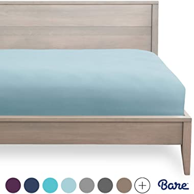 Bare Home Fitted Bottom Sheet Queen - Premium 1800 Ultra-Soft Wrinkle Resistant Microfiber - Hypoallergenic - Deep Pocket (Queen, Light Blue)