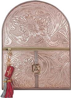 Mochila Chiapas de Piel Oro Rosado con Llavero Marca AngeLozano Original 34x26x10cm