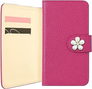 HUAWEI nova 5T ケース 手帳型 かわいい 花 [パール フラワー 1] (フューシャ) カバー SIMフリー スマートフォン