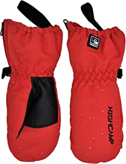 Kids Winter Waterproof Ski Snow Mittens Warm with Zipper for Toddler Boys Girls (Chili Red, 1-3 Years)