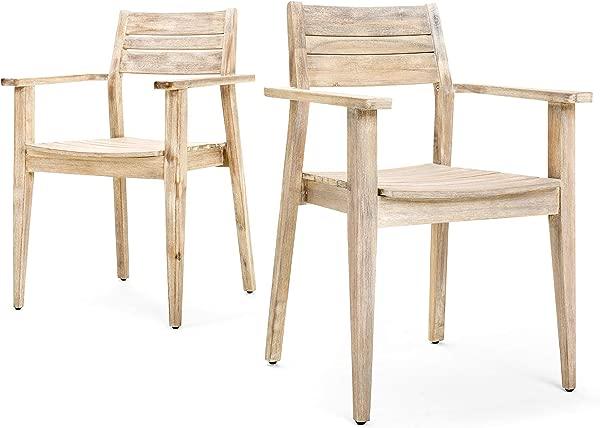 蓝色橡木太阳岛地平线堆叠扶手餐椅 2 个装