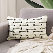 MIULEE Decorative Throw Pillow Cover Tribal Boho Woven Tufted Pillowcase Super Soft Tufting Dot Cushion Case for Sofa Couch Bedroom Car Living Room 12X20 Inch Beige