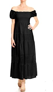 Womens Off Shoulder Boho Lace Semi Sheer Smocked Maxi Long Dress