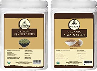Naturevibe Botanicals organic Ajwain seeds(1lb) and Fennel seeds (1lb) combo | Adds Flavour | Imporves digestion