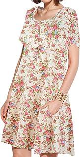 JollieLovin Women's Pockets Long Sleeve Casual Swing Loose Dress