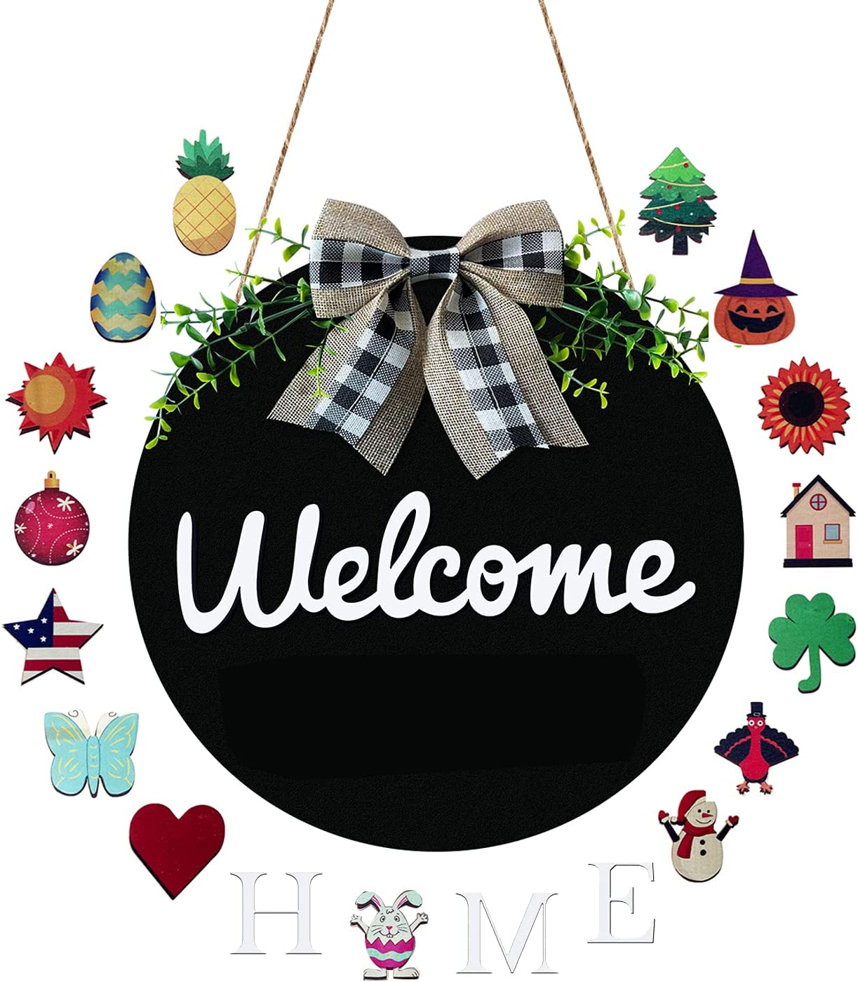 Apuppcvd Welcome Sign for Front Door,Round Wooden Welcome home Sign Hanging Outdoor Front Door Decor for Farmhouse Front Porch Restaurant Holiday Decor for Spring Easter Christmas Winters (Black)