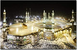 ウォールアートキャンバスプリントアートワークHDメッカイスラム聖なる風景油絵宗教建築イスラム教徒のモスクの写真リビングルームクアドロス70x100cm(28x40in)