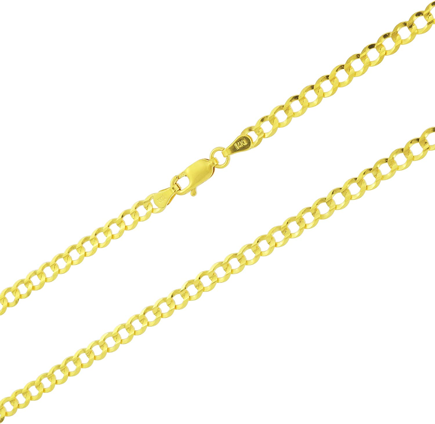 Nuragold 14k Yellow Gold 4mm Solid Cuban Curb Link Chain Pendant Necklace, Mens Womens Lobster Lock 16