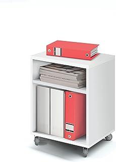 Abitti Buck cajonera con Ruedas Color Blanco Brillo y 2 estantes para Mesa Escritorio de Oficina despacho o Estudio. 55cm...