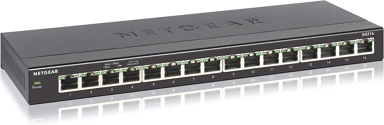 NETGEAR 16-Port Gigabit Ethernet Unmanaged Switch (GS316) - Desktop or Wall Mount, Silent Operation
