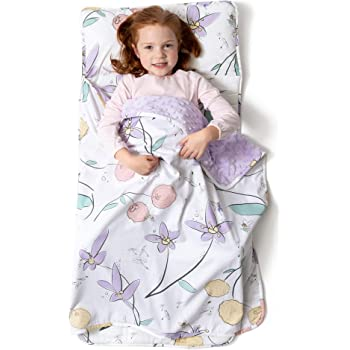 JumpOff Jo – Toddler Nap Mat – Children's Sleeping Bag with Removable Pillow for Preschool, Daycare, and Sleepovers – Original Design: Fairy Blossoms (43 x 21 inches)