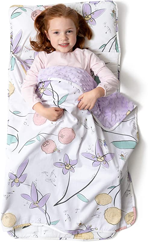 JumpOff Jo Little Jo S Toddler Nap Mat Children Sleeping Bag With Removable Pillow For Preschool Daycare And Sleepovers Original Design Fairy Blossoms 43 X 21