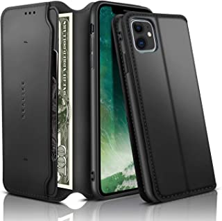 REALIKE iPhone 11 Case, iPhone 11 Wallet Case Leather Folio Flip Case with Kickstand for iPhone 11 Slim Fit with Magnetic Closure Shockproof Protection for Men and Women - Black