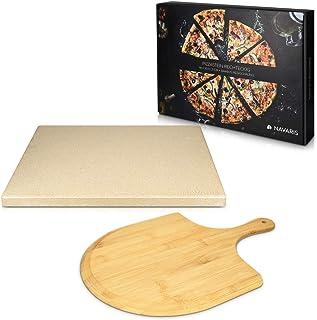 Navaris Pierre à Pizza avec Pelle - Kit Pierre Pizza Rectangulaire XL 38x30cm et Pelle en Bambou - Four Traditionnel Bois ...