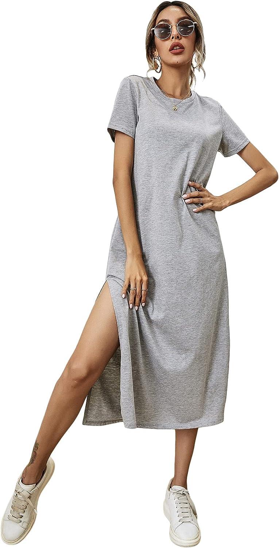 Milumia Women's Casual High Slit Midi Dress Short Sleeve Crewneck Solid Tee Dress