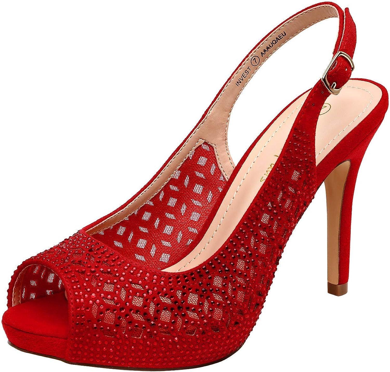 DREAM PAIRS 5% OFF Women's High Heels Platform Rhinestones Dress T Peep Overseas parallel import regular item