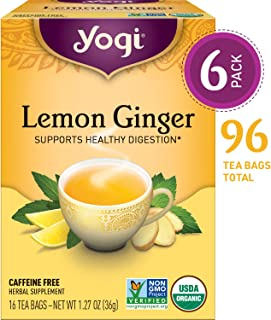 Yogi Tea - Lemon Ginger - Supports Healthy Digestion - 6 Pack, 96 Tea Bags Total