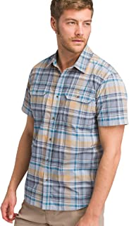 prAna Men's Cayman Plaid Short Sleeve, Rain, Small