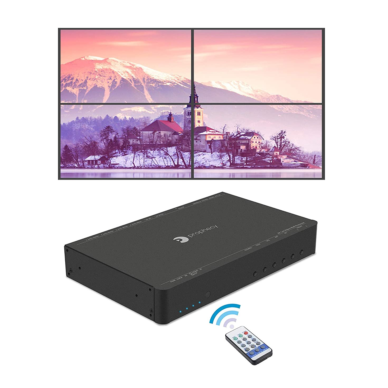 gofanco Prophecy 4K HDMI 2x2 Video Wall Controller & Processor – Up to 4K/60Hz YUV 4:4:4, 1x HDMI or Mini DisplayPort 1.2 Input, Bezel Correction (Supports 1x1, 2x2, 1x3, 3x1, 1x4, 4x1)
