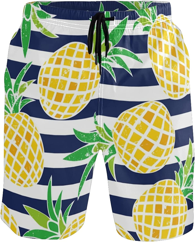 Pineapple Swim Trunks Men Funny, Fun Swim Trunks Guys Board Shorts,Tropical Pineapple Navy Blue Stripes AT294