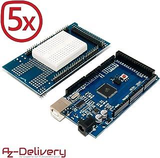 AZDelivery 5 x Tarjeta Mega 2560 R3 ATmega2560 Mega2560 Bundle, 100% compatible con Arduino con eBook incluido