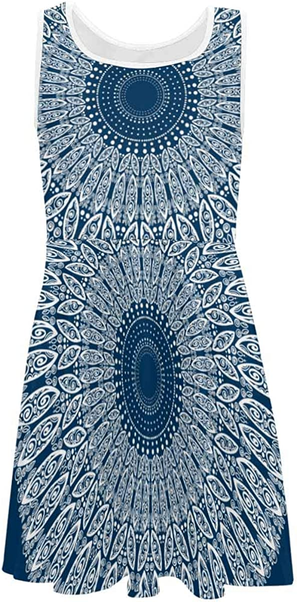 INTERESTPRINT Girls Sleeveless Casual/Party Dress for 4-13 Years Blue and White Graphics (2T-XL)