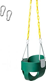 E EVERKING Heavy Duty Swings Seat with 66 Chain Plastic Coated,Playground Swing Set Accessories Replacement with Snap Hooks,250 LB Weight Limit