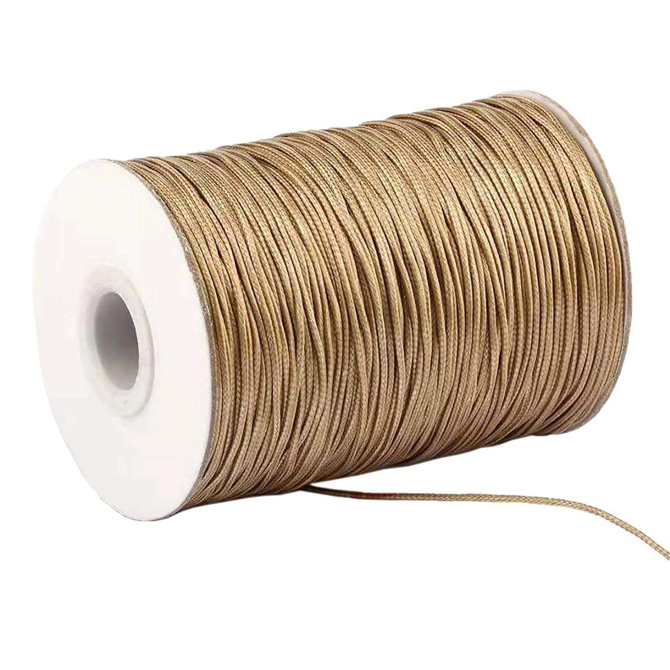 Yzsfirm 1 Roll 1mm Waxed Cord 175 Yards Thread Spool String Khaki Tag Rope for Jewelry Sewing and Necklace Shoelaces DIY Making