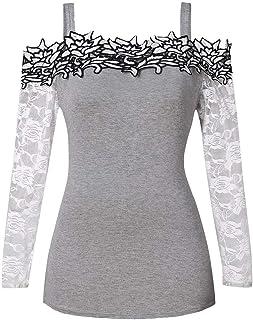 LEXUPA Fashion Womens Off-the-shoulder strap Long Sleeve Plus Size Lace Applique Cold Shoulder T-shirt Tops