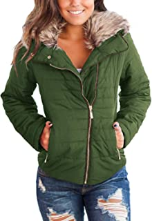Women Casual Faux Fur Lapel Zip Pockets Quilted Parka Jacket Puffer Coat