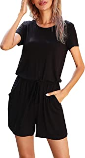 Sponsored Ad - LAINAB Women's Casual Summer Short Sleeve Playsuit Jumpsuits Rompers Shorts with Pockets